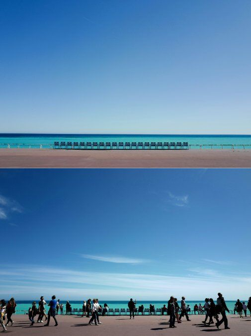 Las sillas azules en la desierta Promenade des anglais