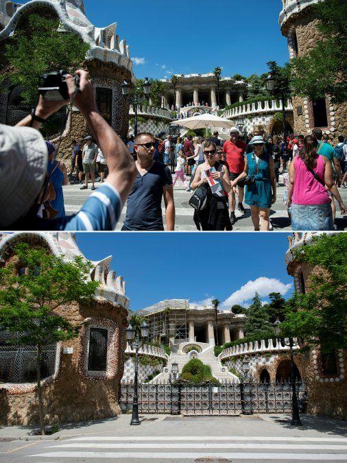 Turistas visitando el Parque Güell de Barcelona el 10 de agosto de 2017 y el mismo lugar