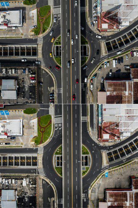 Vista aérea de la Vía Simón Bolívar o la Autopista Transistmica