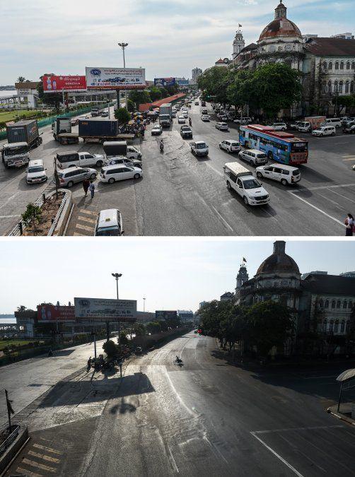 Una carretera en Yangon el 14 de mayo de 2020 y la misma calle vacía