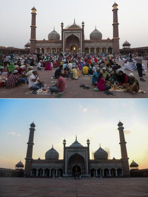 Devotos musulmanes durante su mes sagrado del Ramadán en la mezquita Jama Masjid en Nueva Delhi el 5 de junio de 2018