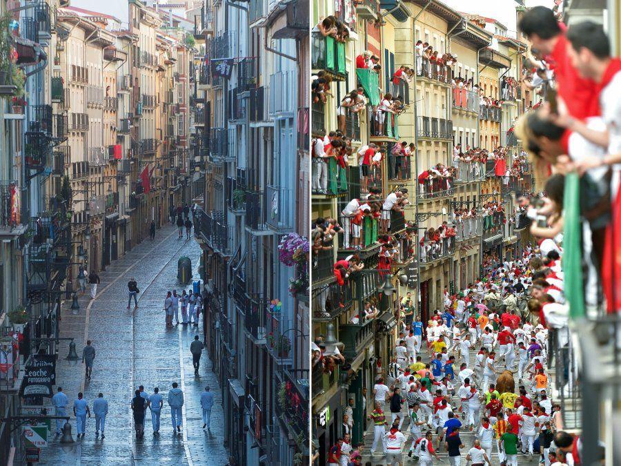 La calle Estafeta durante una celebración simbólica de la primera corrida del festival de San Fermín