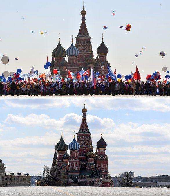 Celebración en la Plaza Roja el 1 de mayo de 2019 y la Plaza Roja vacía durante un cierre parcial en Moscú en mayo 1