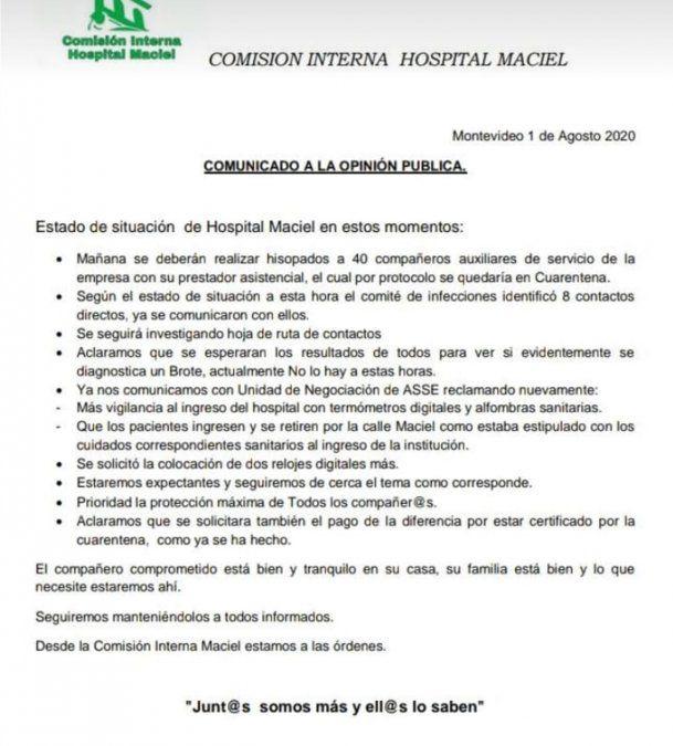 Detectan caso positivo de Covid-19 en el Maciel y 40 funcionarios van a cuarentena