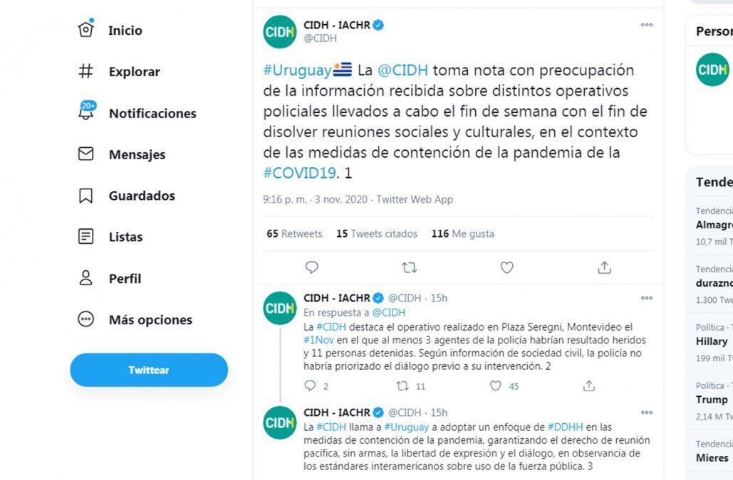 Cancillería responde a Comisión Interamericana de Derechos Humanos por críticas al operativo en Plaza Seregni