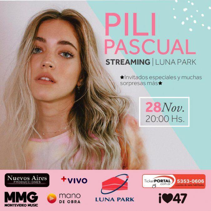 Pili Pascual se presenta desde el Luna Park vía streaming