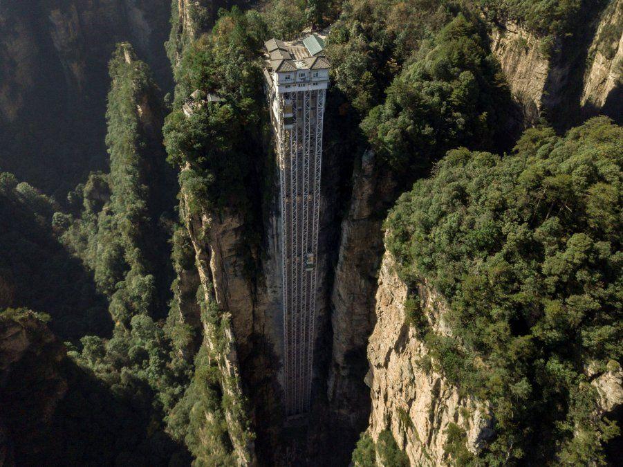 Vista aérea de los ascensores Bailong