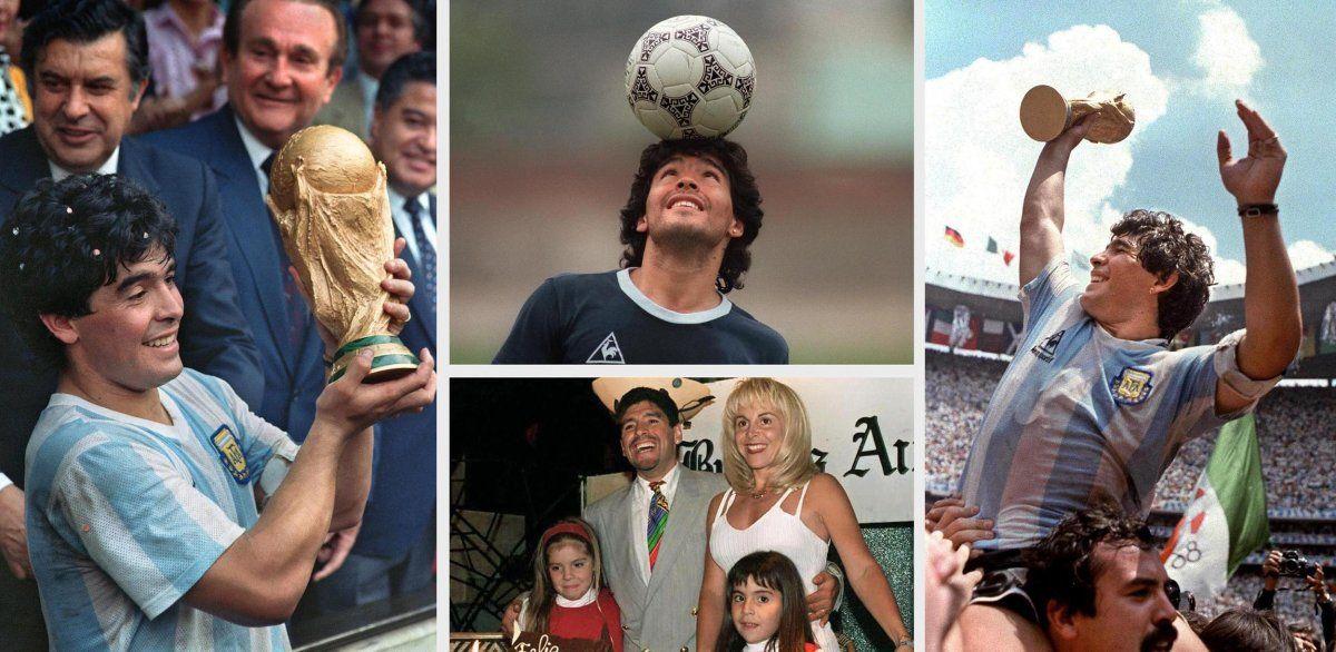 Collage de Maradona en la cima de su carrera