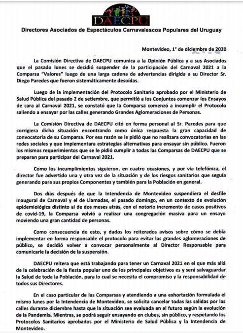 Daecpu suspendió del carnaval 2021 a la comparsa Valores de Ansina