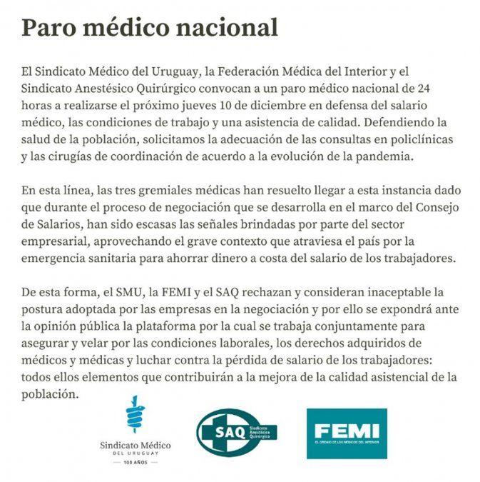 Médicos convocan a un nuevo paro nacional el jueves 10