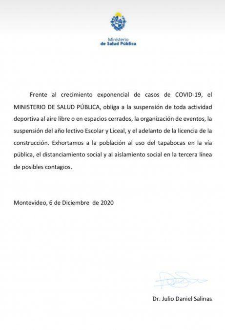 El MSP denunció en Fiscalía un falso comunicado con medidas sobre el Covid-19