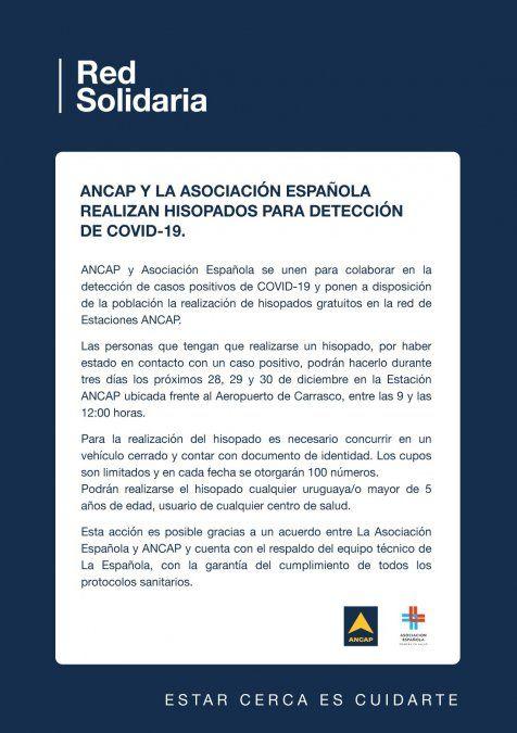 ANCAP y la Española realizarán test de covid-19 gratis durante tres días