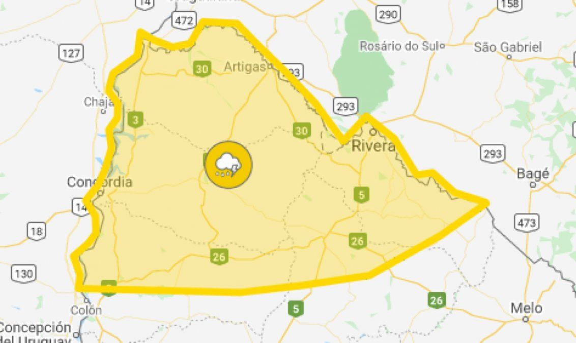 Continúa vigente alerta amarilla por tormentas fuertes en el norte del país