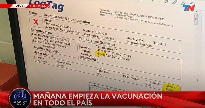La vacuna sputnik V debe ser transportada con una temperatura no mayor a -18° Aca en la imagen un lote de vacuna que fue llevada a tucumán