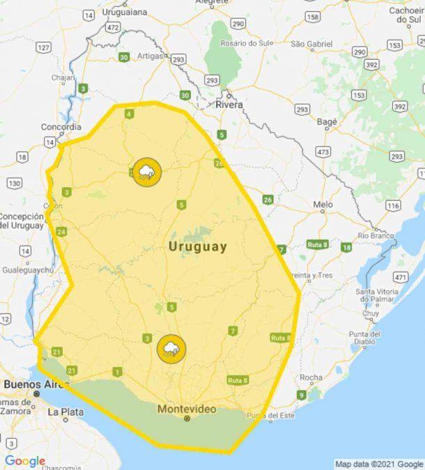 Actualizan alerta amarilla para gran parte del país por tormentas fuertes