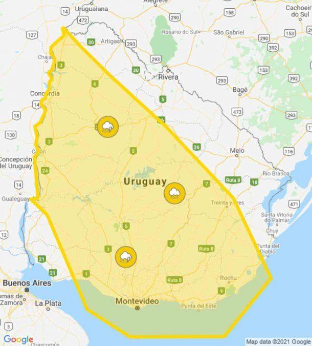 Inumet actualizó la alerta amarilla hasta la medianoche