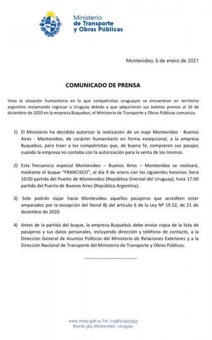 Gobierno autoriza viaje humanitario de Buquebús para uruguayos varados en Argentina