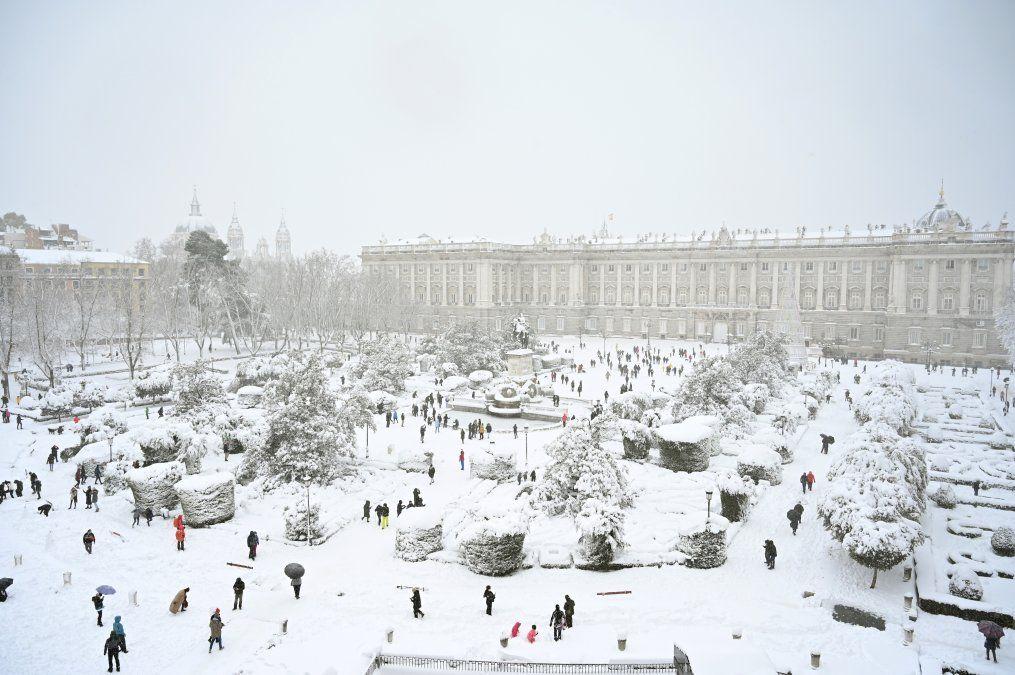 Así lucen los jardines del Palacio Real de Madrid el 9 de enero de 2021