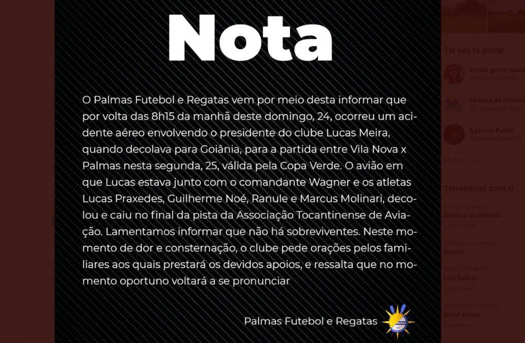 Seis muertos, entre ellos cuatro futbolistas, al caer avioneta en Brasil