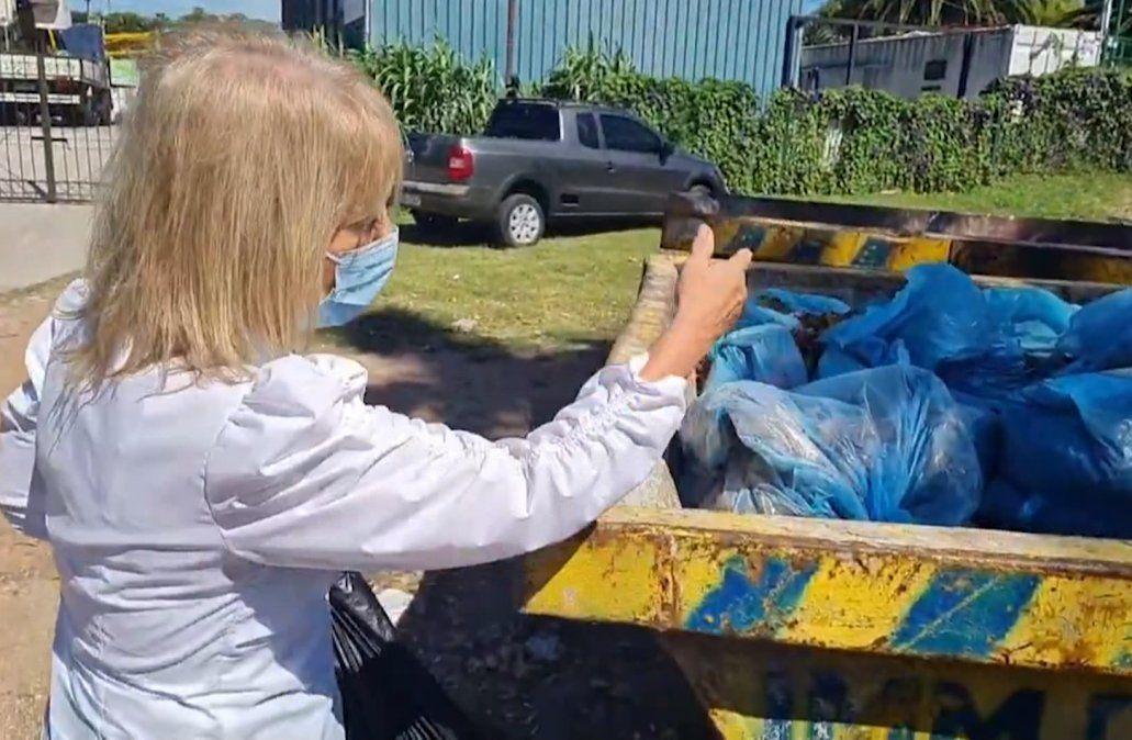 Carolina Cosse mostró dónde tirar podas y escombros domiciliarios, pero se encontró con una sorpresa