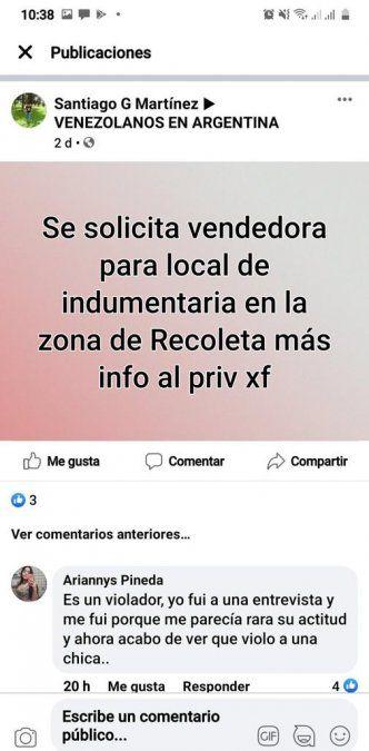 El aviso de Facebook buscando vendedora