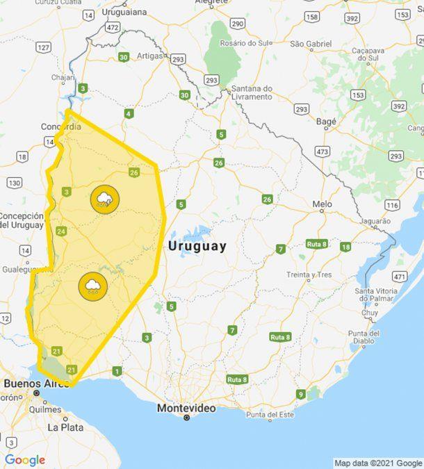 Alerta amarilla por tormentas fuertes y lluvias intensas comienza por el oeste