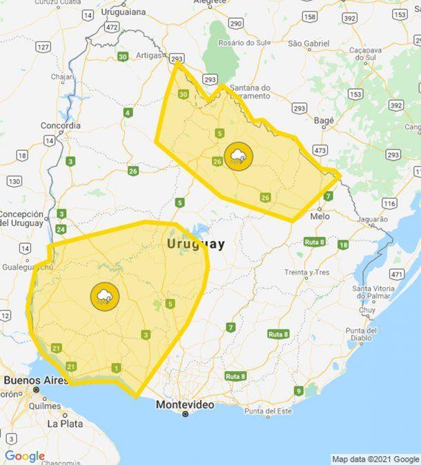 Doble alerta amarilla por tormentas fuertes en distintas zonas del país