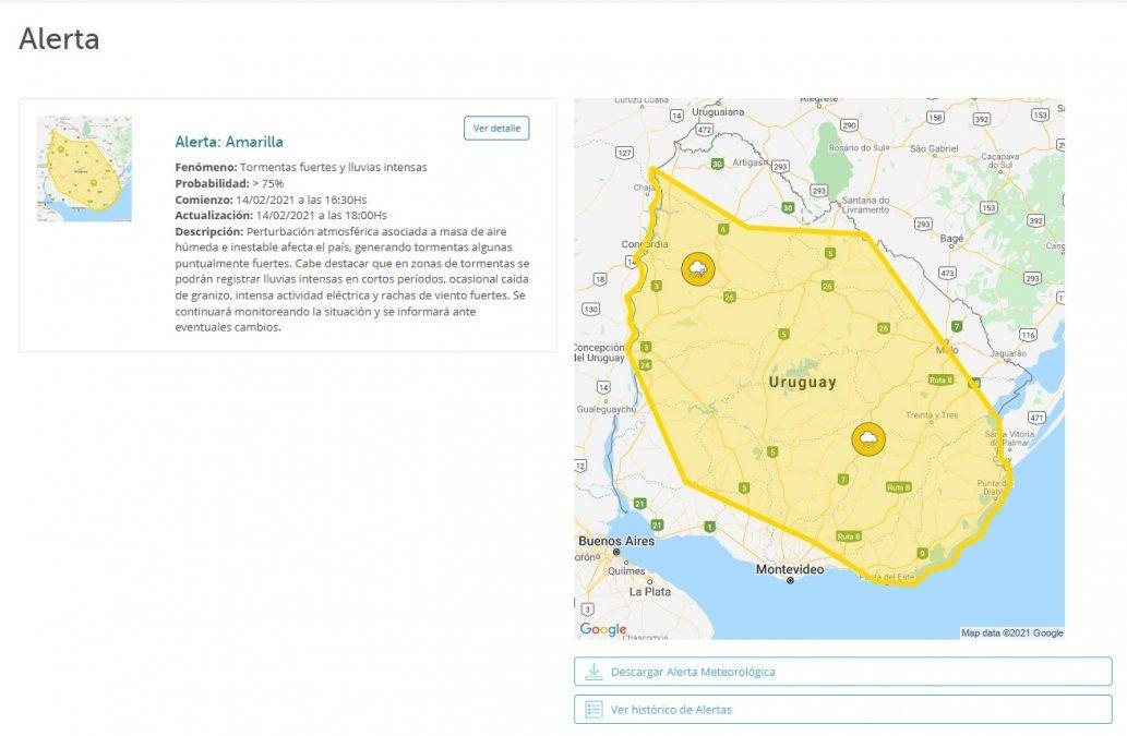 Inumet actualiza alerta amarilla por tormentas fuertes y lluvias intensas