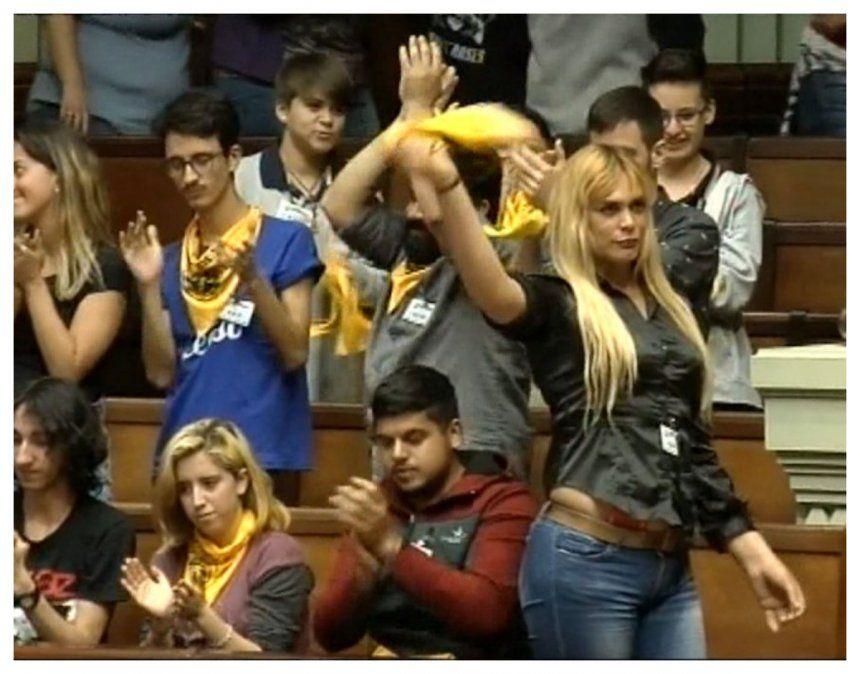 Jóvenes en las barras del Parlamento durante la discusión de la Ley Integral para Personas Trans en 2020
