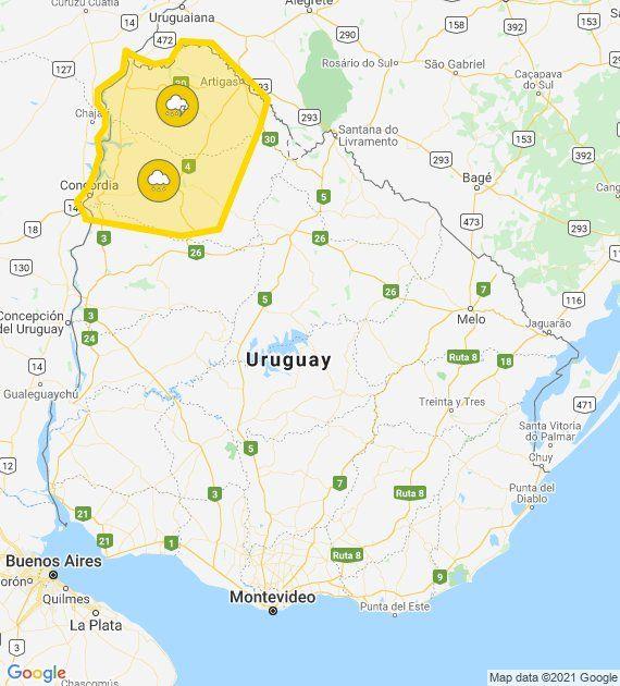 Alerta amarilla en el litoral norte y mejora el tiempo en la tarde de este martes