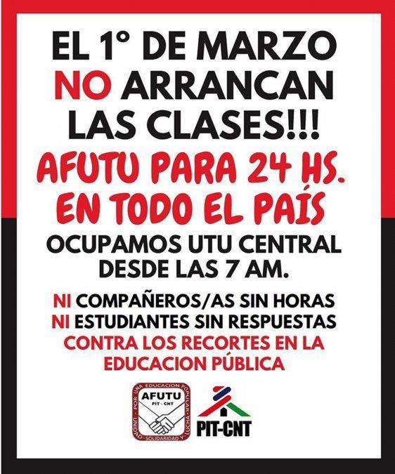 Sindicato de UTU convoca a paro en todo el país el 1 de marzo y ocupa sede central