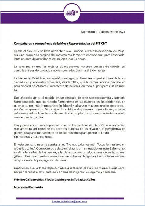 El PIT-CNT dejó en cada sindicato la decisión de hacer paro de mujeres el 8 de marzo