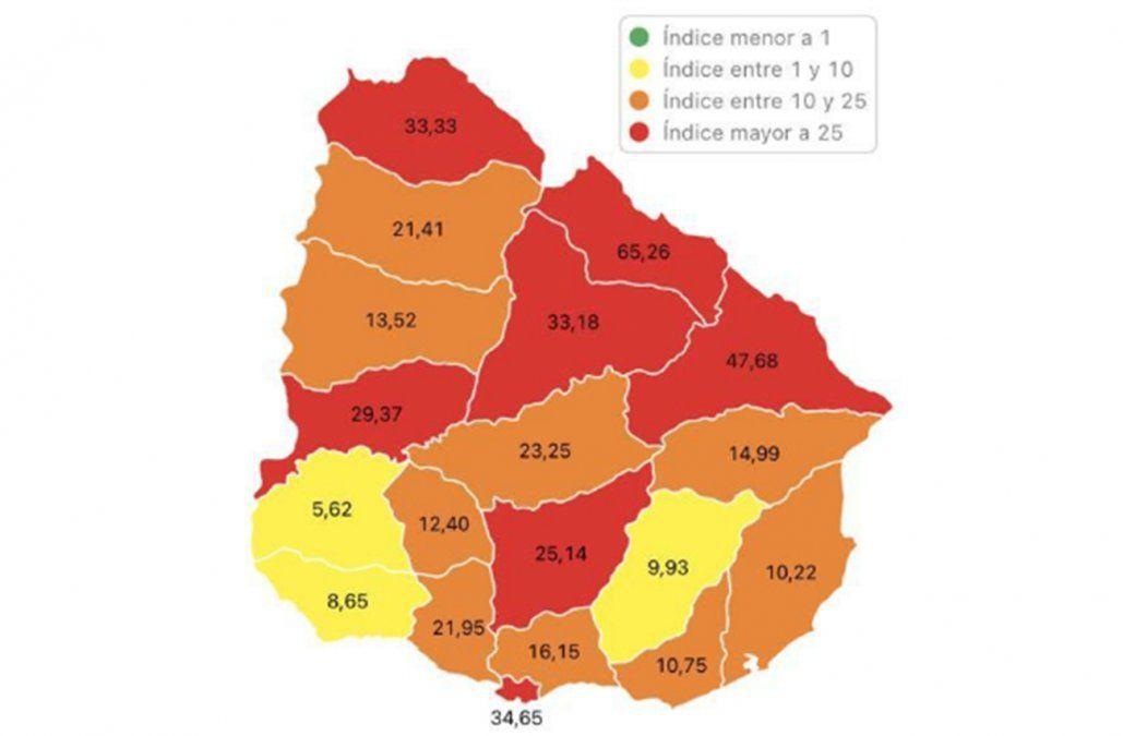 Río Negro y Florida en zona roja: siete departamentos con riesgo máximo por casos de Covid