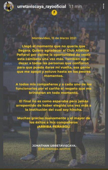 Jonathan Urretaviscaya confirma que se va de Peñarol: no fue mi mejor pasaje