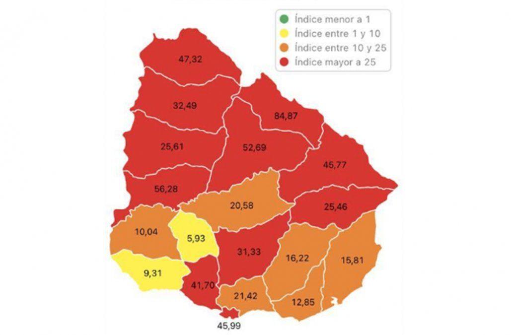 Sube a 11 la cantidad de departamentos en zona roja por los nuevos casos de Covid-19