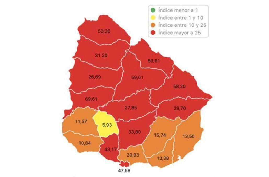 Ya hay 12 departamentos en zona roja por la propagación de los casos de Covid