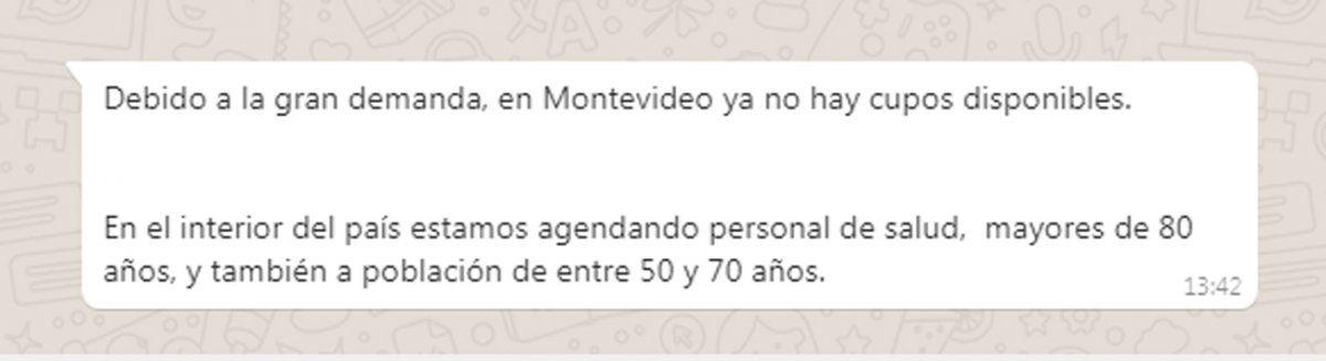 En Montevideo y Canelones no hay más cupos para vacunarse, hasta nuevo aviso