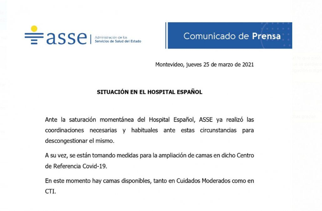El hospital de referencia Covid estuvo saturado este jueves y trasladaron pacientes
