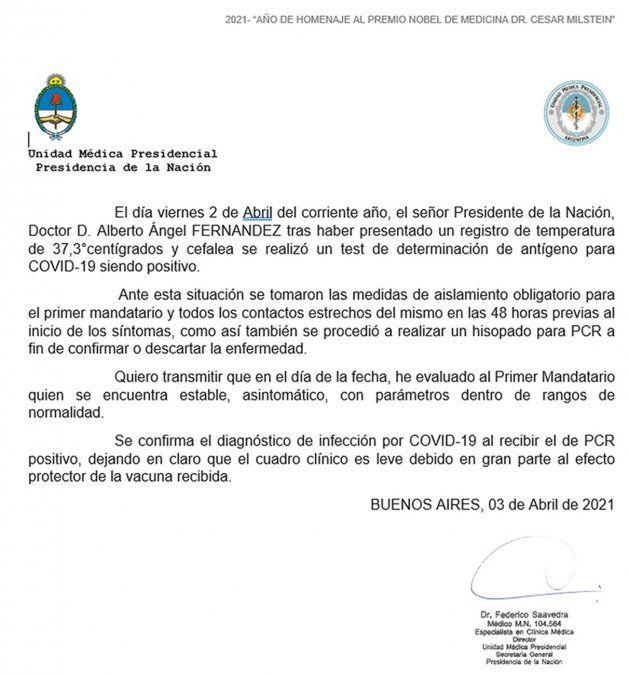 Argentina: Segundo test confirma que Alberto Fernández contrajo el Covid-19