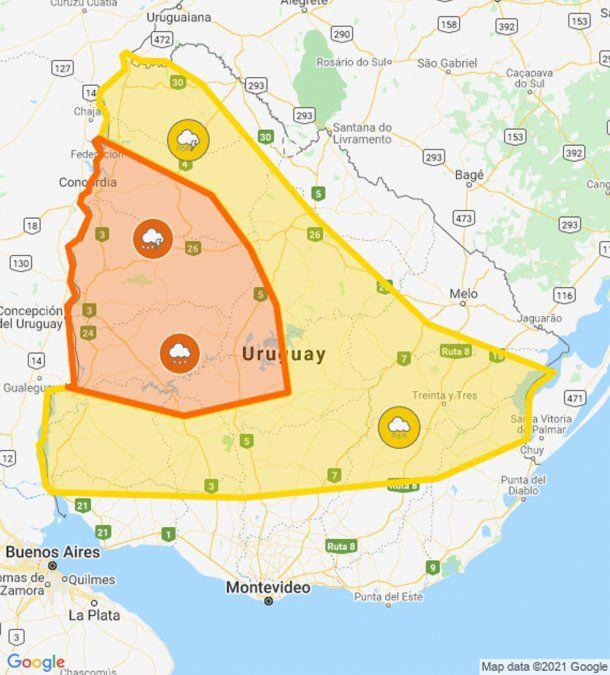 Doble alerta naranja y amarilla por persistencia de tormentas y lluvias