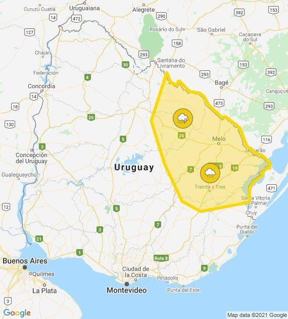 Alerta amarilla para Cerro Largo y Treinta y Tres; tiempo nuboso en el resto del país
