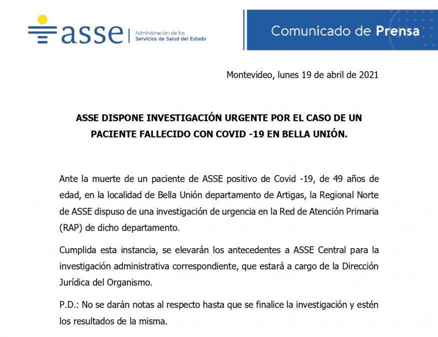 Denuncian otra muerte por Covid sin asistencia y ASSE abre nueva investigación