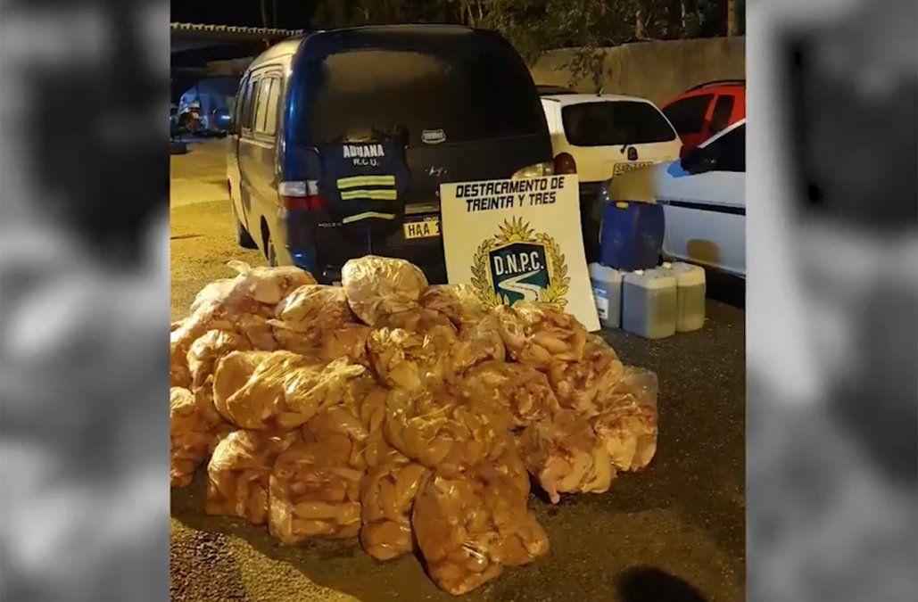 Incautaron 800 kg de pollo y 80 litros de nafta en control carretero