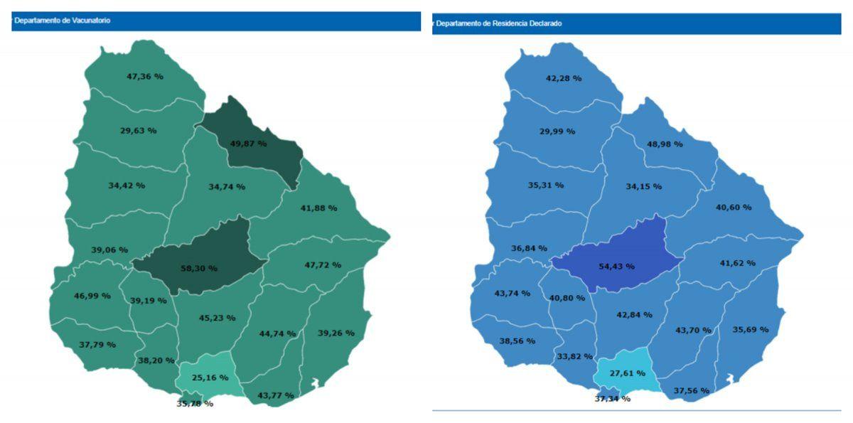 Más vacunados en Montevideo y Canelones, según datos de inoculados por departamento