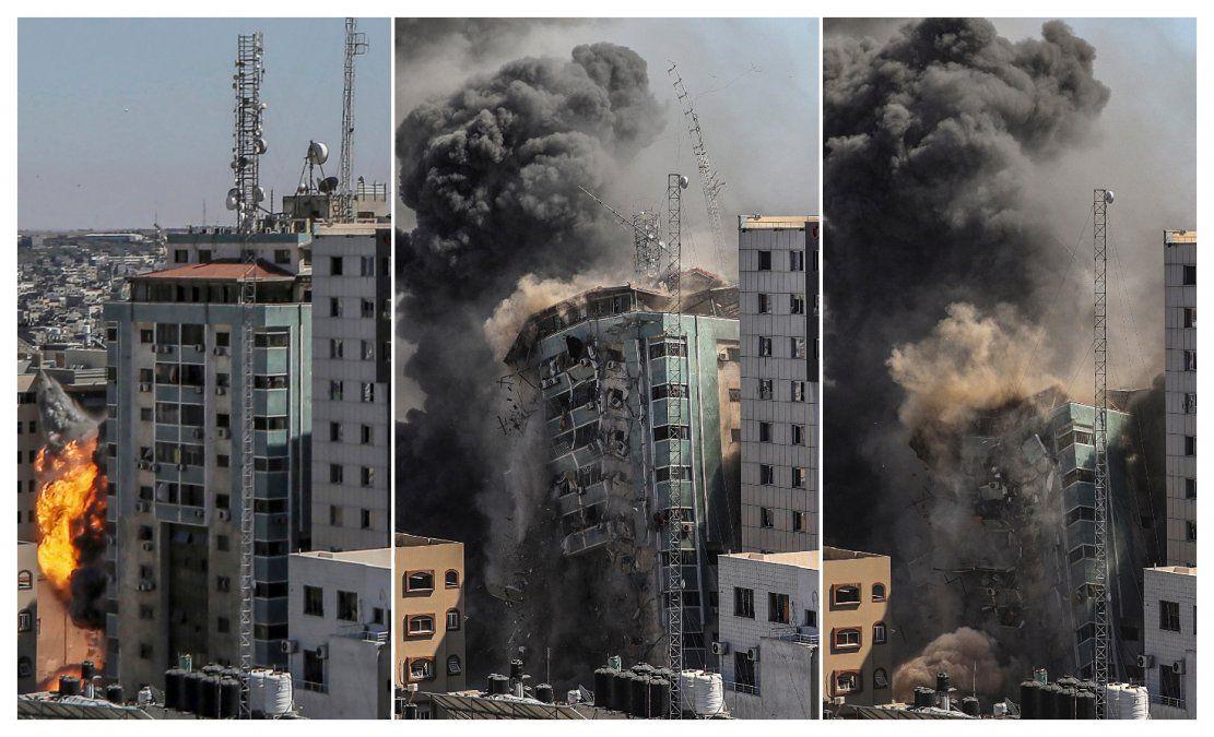 El edificio de 12 pisos situado en Gaza donde se alojaban periodistas que cubren el conflicto. Las fuerzas israelíes advirtieron a los ocupantes que el local sería un objetivo y fue desocupado antes del ataque.