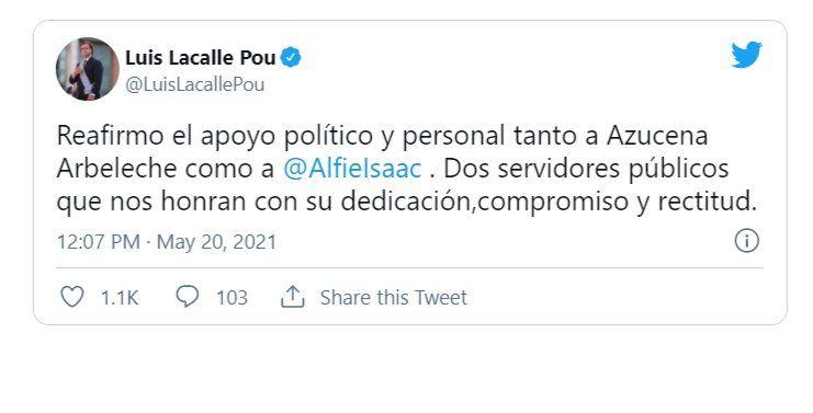 Por Twitter,  Lacalle Pou reafirmó apoyo político y personal a  Azucena Arbeleche e Isaac Alfie