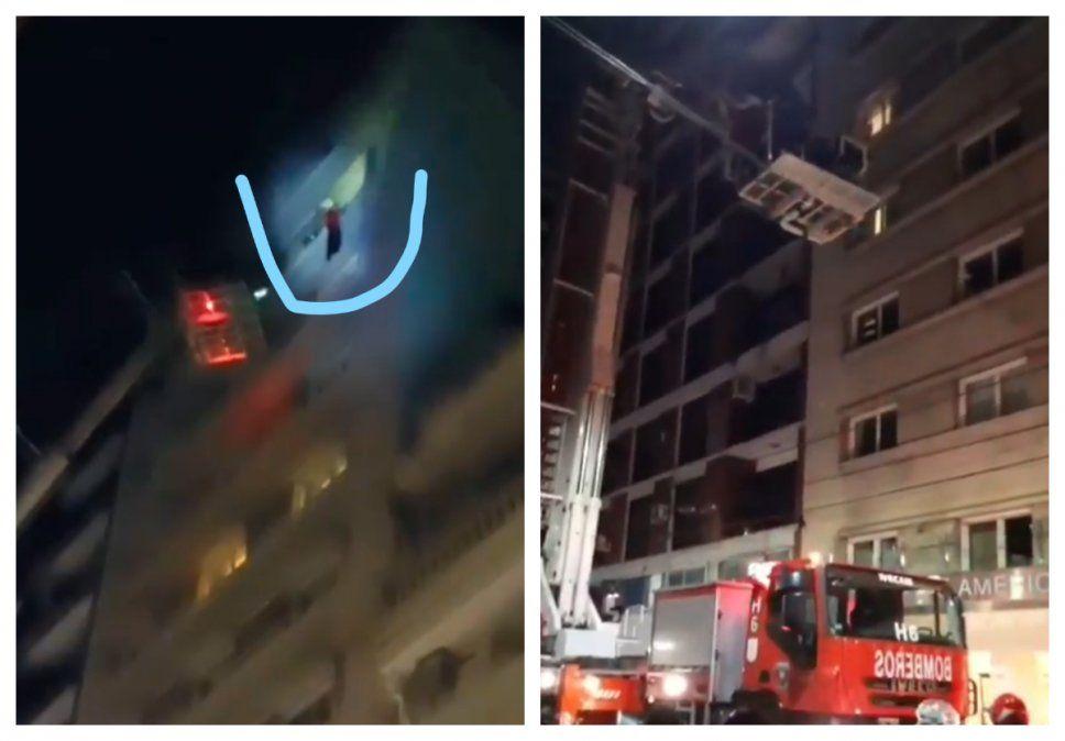 Las dos caras del rescate. Duarte en el piso 11 y el hidroelevador empleado para bajarlo sin riesgo. Todo salió bien-