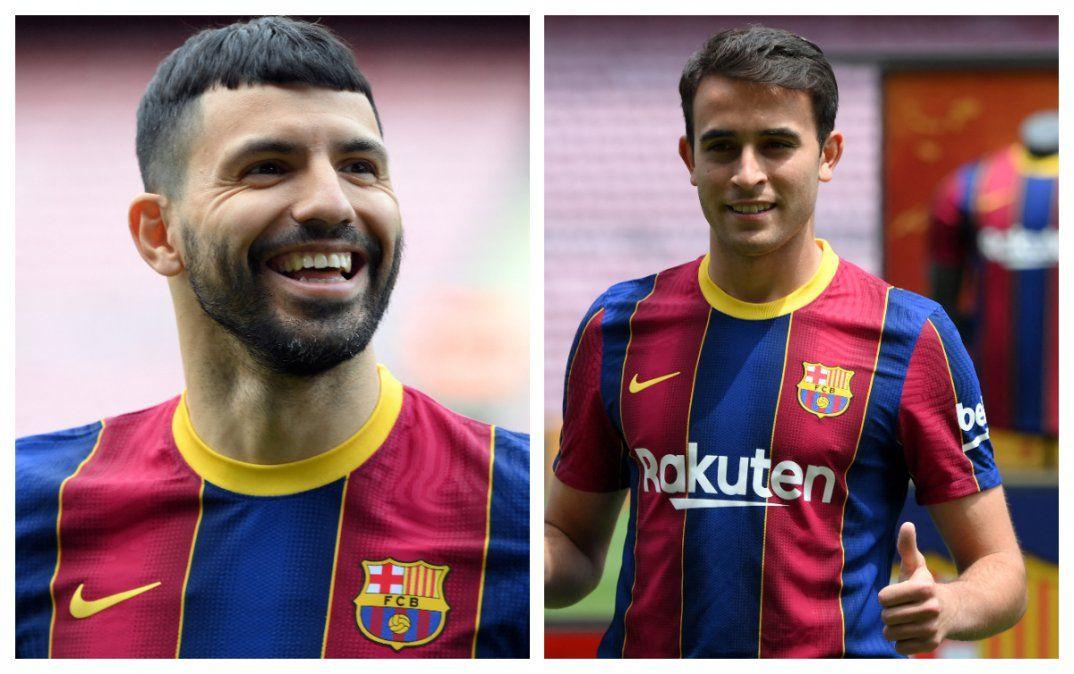 Eric García y Kun Agüero en sus primeras horas en Barcelona FC