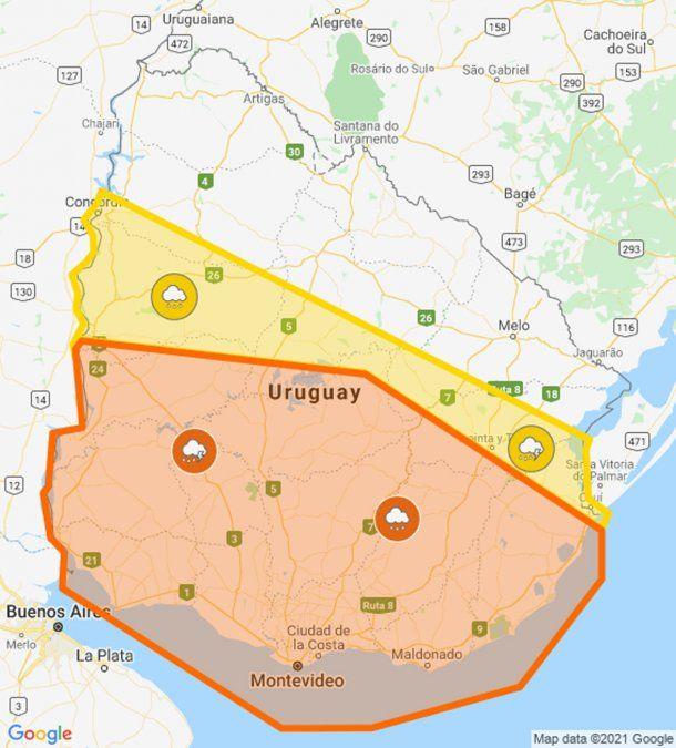 Inumet publica doble alerta naranja y amarilla por tormentas fuertes en gran parte del país