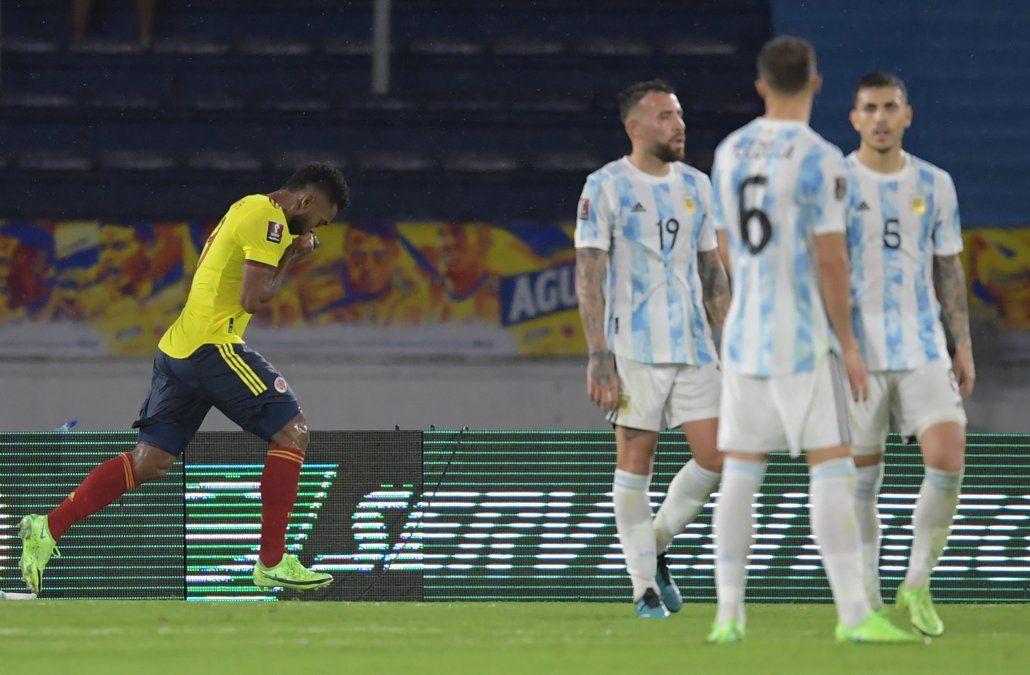 Borja celebra el gol del empate ante Argentina cuando terminaba el partido.
